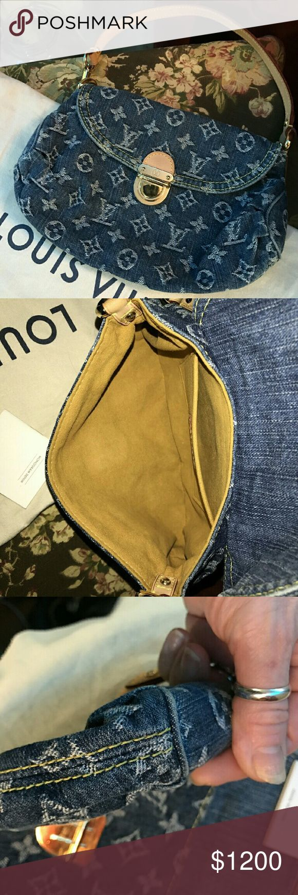 Louis Vuitton Denim Mini Shoulder Bag Authentic Louis Vuitton Denim Mini Shoulder Bag, never worn. Bag is Pristine, never carried, just stored. Comes with Booklet  and Dustbag. Louis Vuitton Bags Shoulder Bags