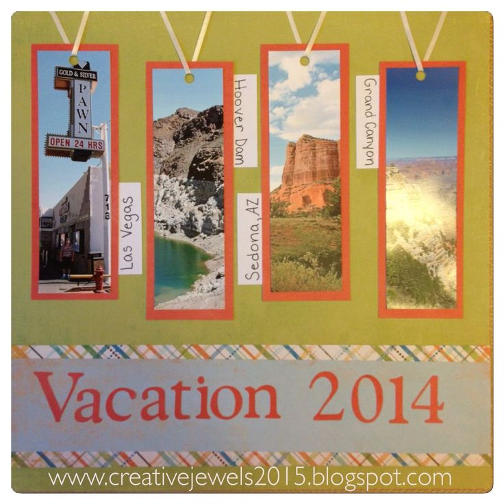 I made this title page for our vacation album, which is in a Creative Memories Sunshine Getaway Fast 2 Fab album. It came with pre designed pages, which I used for Sedona and Grand Canyon pictures. I used a few large pocket pages for some traditional scrapbook pages, and MANY multi pocket pages for the rest of the photos of Las Vegas and the Hoover Dam. It was quick and easy, and now it's DONE! #vacationscrapbook