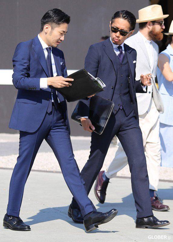ネイビースーツ着こなし,ネイビーの明るさが違う,navy blue suit