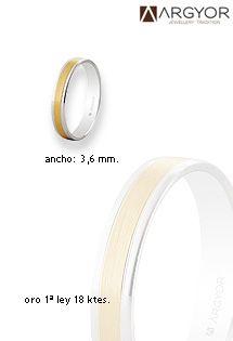 Alianzas de boda de oro de 1ª Ley (18 Kilates) de la firma de referencia ARGYOR. Diseño en oro bicolor blanco y amarillo con anchura de 3,6 mm.