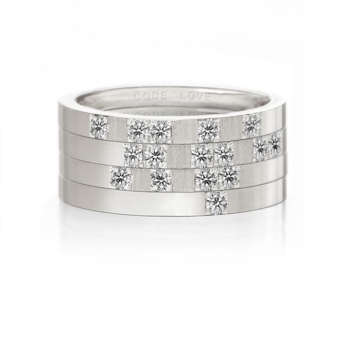 CODE LOVE 'LOVE' Morse Code Union Ring - These unique and beautiful Union Rings have been designed to stack. There are 26 rings in the collection each representing a letter of the English alphabet. Designed using brilliant cut diamonds set in either rose, yellow or white gold you can create whatever your heart desires! www.codelove.com.au
