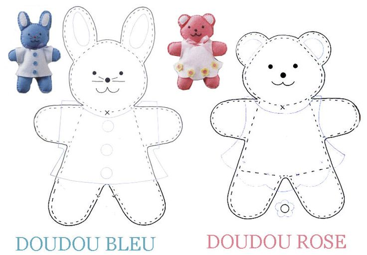 DOUDOU PATRON PATTERNS ET CIE - 1 et 2 et 3 DOUDOUS * PATRONS* PATTERNS * GABARITS FETE A THEMES POUR ENFANTS