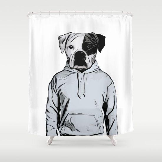 Cool Dog Shower Curtains by Nicklas Gustafsson #dog #bulldog #boxer #human #illustration #hoody #hoodie #showercurtains #homedecor