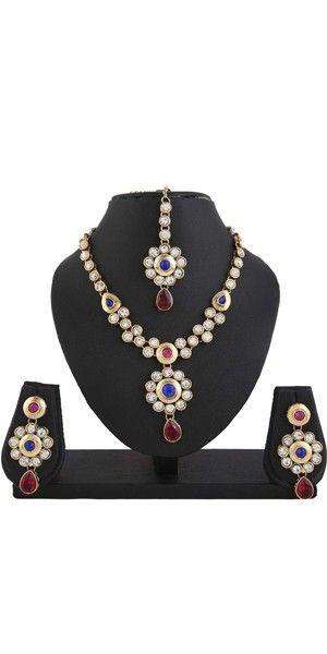 Kundan Pink Blue Indian Bollywood Necklace Earrings Tika Set. for Women.