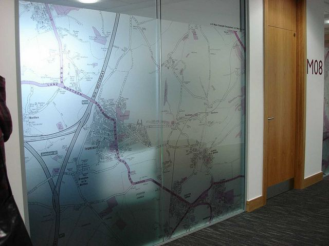 Map Frosted Window Graphic Egd Exterior Window