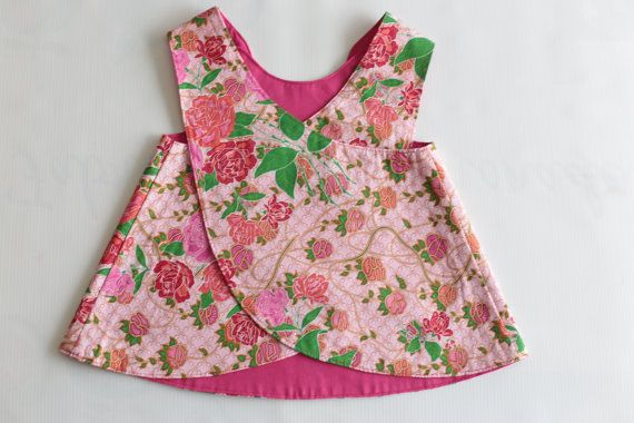 Cute reversible pinafore baby girls dress. by FabriqueDeLimonade