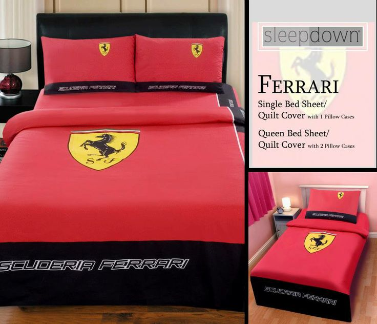 Ferrari Single Bed Sheet Set Rs.1,000/  Single Quilt Cover Rs. 1,500