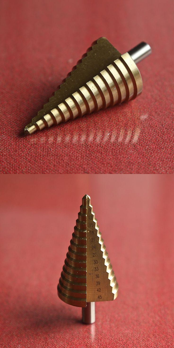 1pc Round shank 4-45mm 15 steps HSS 4241 straight step Drill Bit core drill bit TIN Coated cone Step Drill Bit Set hole cutter
