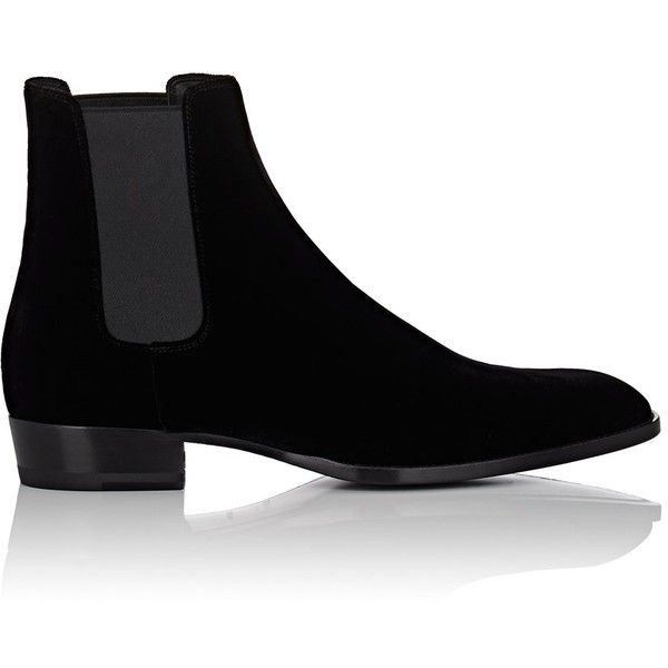 Saint Laurent Men's Wyatt Velvet Chelsea Boots ($995) ❤ liked on Polyvore featuring men's fashion, men's shoes, men's boots, black, mens slip on shoes, men's pull on boots, mens black shoes, mens black velvet shoes and mens black slip on shoes