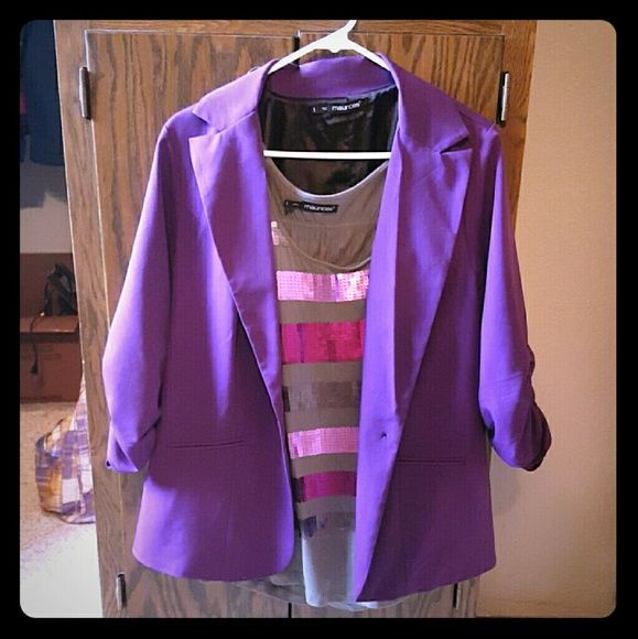 Purple blazer outfit Purple blazer outfit with sequence tank Maurices Jackets & Coats Blazers
