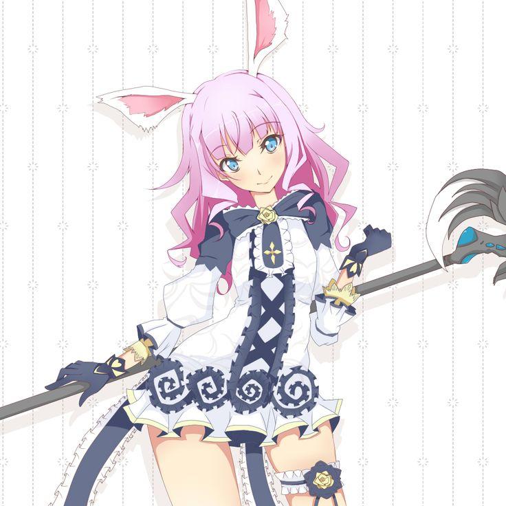animal_ears blue_eyes dress elin_(tera) gloves long_hair pink_hair rabbit_ears smile staff tera_online