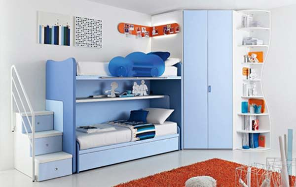 Bedroom : Kids room ideas in blue theme with unique bed bunk set decorated with identical colour collection orange lighted with dark orange carpet picture - a part of Awesome Residing Preferable Home And Room Spangle Specially For Kids