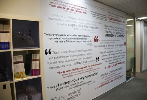 Creative Ways To Display Quotes: Testimonial Wall Mural. Great Motivator To Employees And