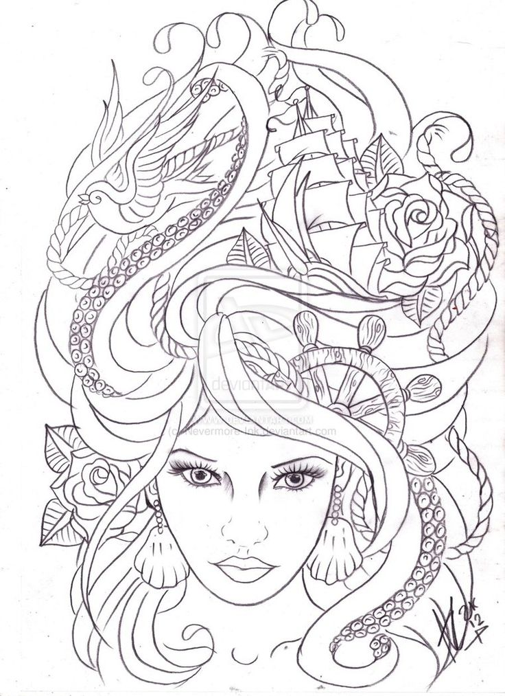 maritime hair tattoo sketch by  Nevermore Ink on deviantART