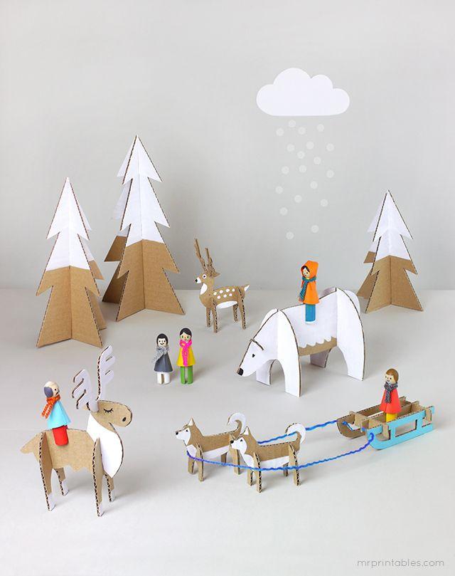 DIY winter dolls with cardboard animals by mrprintables