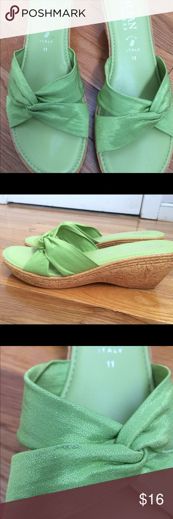 Gorgeous Italian green wedge slip on sandals Beautiful light green Italian slip on sandals in a size 11. The upper is made of cloth and is in pristine condition on this wedge sandal. Sandal is gently worn as seen by the bottoms. italian Shoemaker Shoes Wedges