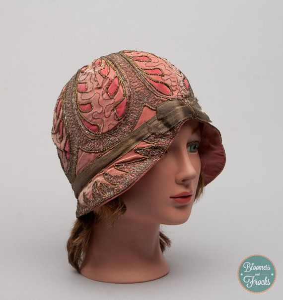 1920s Pink Silk Cloche Hat / 20s Flapper Hat /#The Great Gatsby from BloomersAndFrocks, $148.00