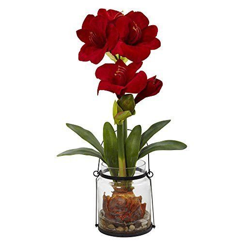 """Nearly Natural Amaryllis with Vase Floral Decor, 24"""", Red"""