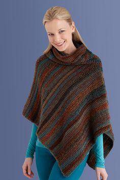 Lion Brand - Crochet poncho rayé multico