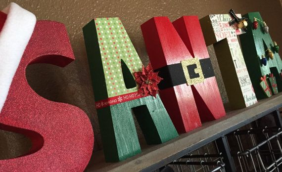 SANTA Block Wooden Letters, Santa Letters, Christmas Decorations, Christmans…