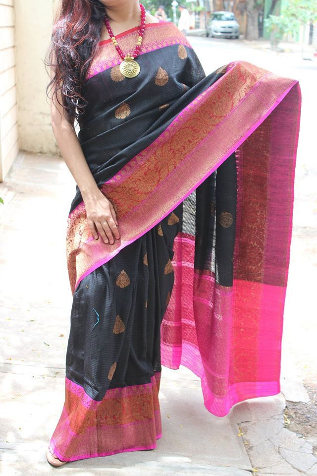 Black with magenta Banarasi dupion silk saree with antic gold zari