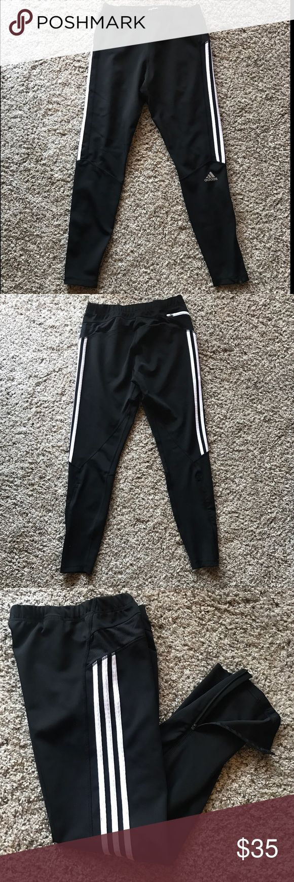 Women's Adidas Response ClimaLite leggings Worn no more than 5 times, they're super comfy and have zippers on the sides of the legs. Adidas Pants Leggings
