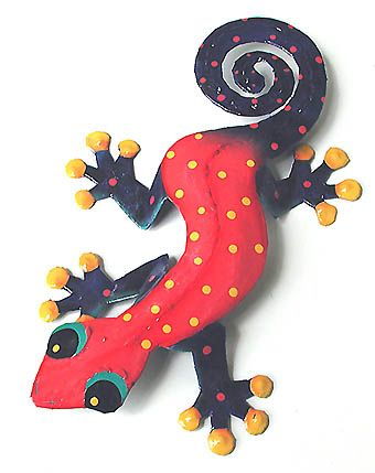 "TROPICAL HOME DECOR -  Extra Large Hand Painted Metal Gecko Wall Art - 19"" x 30""  - Hand Painted Metal Steel Drum Tropical Art from Haiti - Found at www.TropicAccents.com"