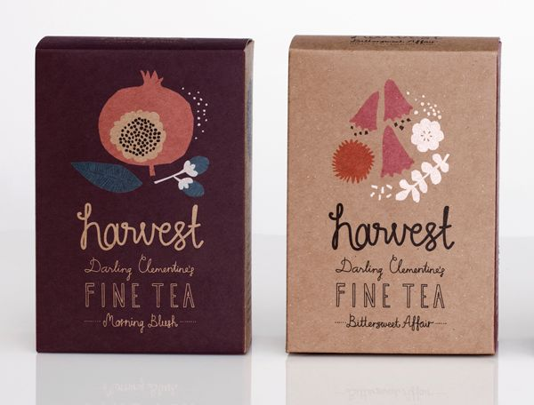 Darling clementine: Tea Packaging, Ideas, Darling Clementine, Hands Letters, Packaging Design, Teas Packaging, Fine Teas, Teas Houses, Harvest Fine