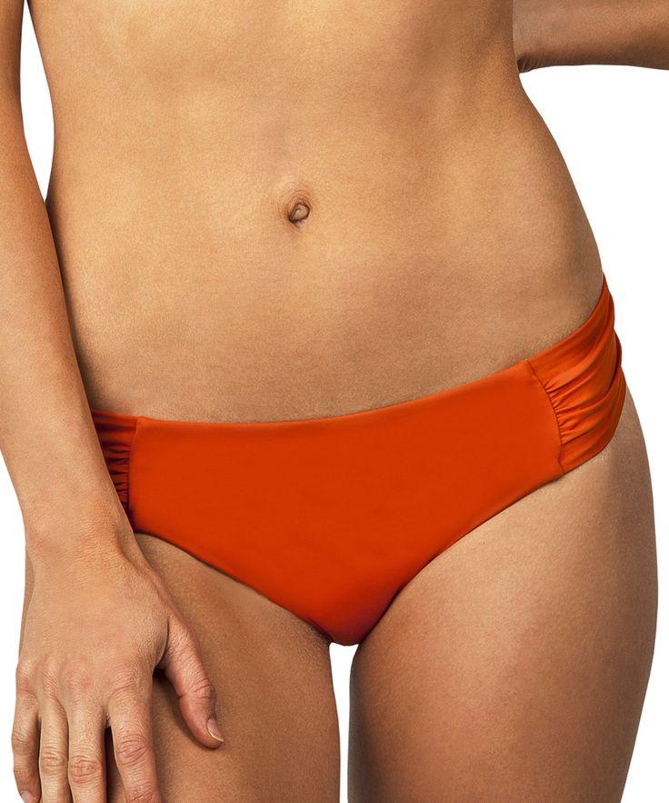 Orange Shirred Bikini Bottoms