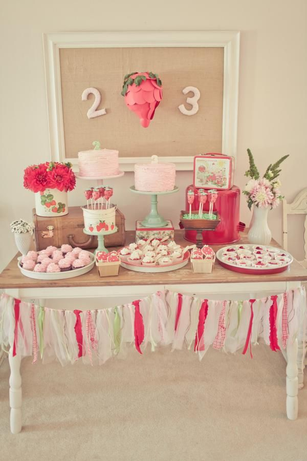 Strawberry party idea via Kara's Party Ideas karaspartyideas.com #strawberry #shortcake #party #ideas #cake