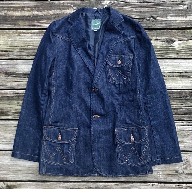 WRANGLER Heritage Indigo Dark Denim Blue 2-Button Sport Coat Blazer Men's S 40R #Wrangler #TwoButton