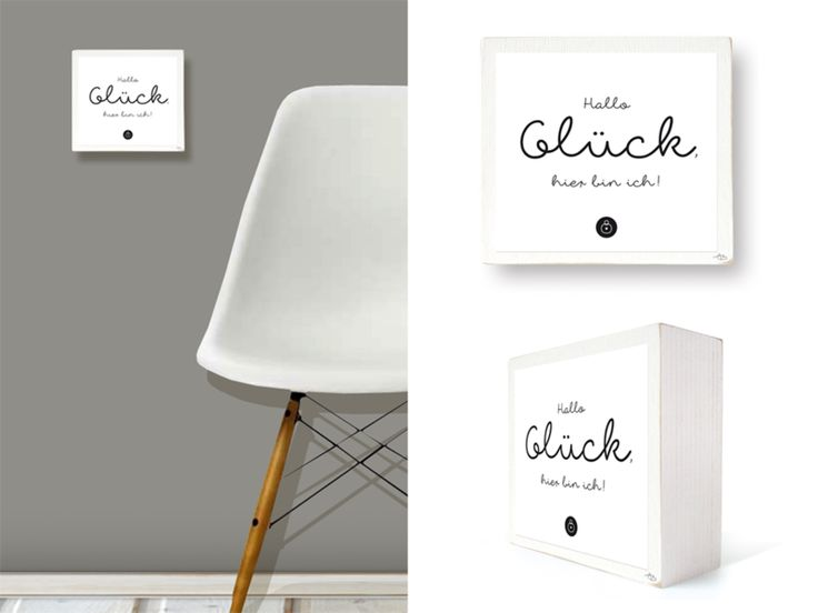 """HALLO GLÜCK!"" - Bild auf Holz (360g) von Soul Directors Club HAPPINESS SHOP . Products for a Happy Life auf DaWanda.com"