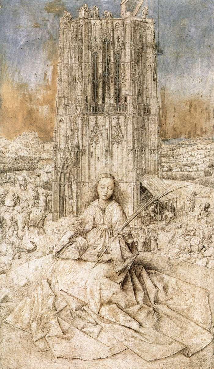 Jan Van Eyck - Santa Barbara - 1437- Disegno a pennello su tavola 31X18cm Koninkljink Museum voor Schone Kunsten - Anversa