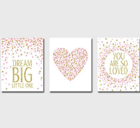 Set of Prints Nursery Prints Dream Big Little One Printable You Are So Loved Pink And Gold Nursery Girls Room Decor 8x10 Gift For Girl