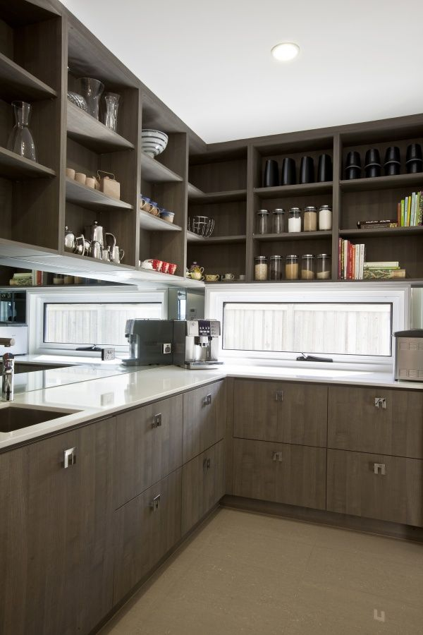Butlers pantry australia, brown cupboards with glass window splash back and mirror makes the most of this small space(3rd angle)- Google Search