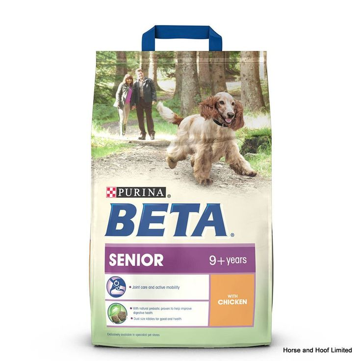 Beta Senior with Chicken Dog Food Beta Senior with Chicken is the food that can help your senior dog enjoy every moment whether it's a trip to the shops, a walk in the woods or a fun trip to the beach.