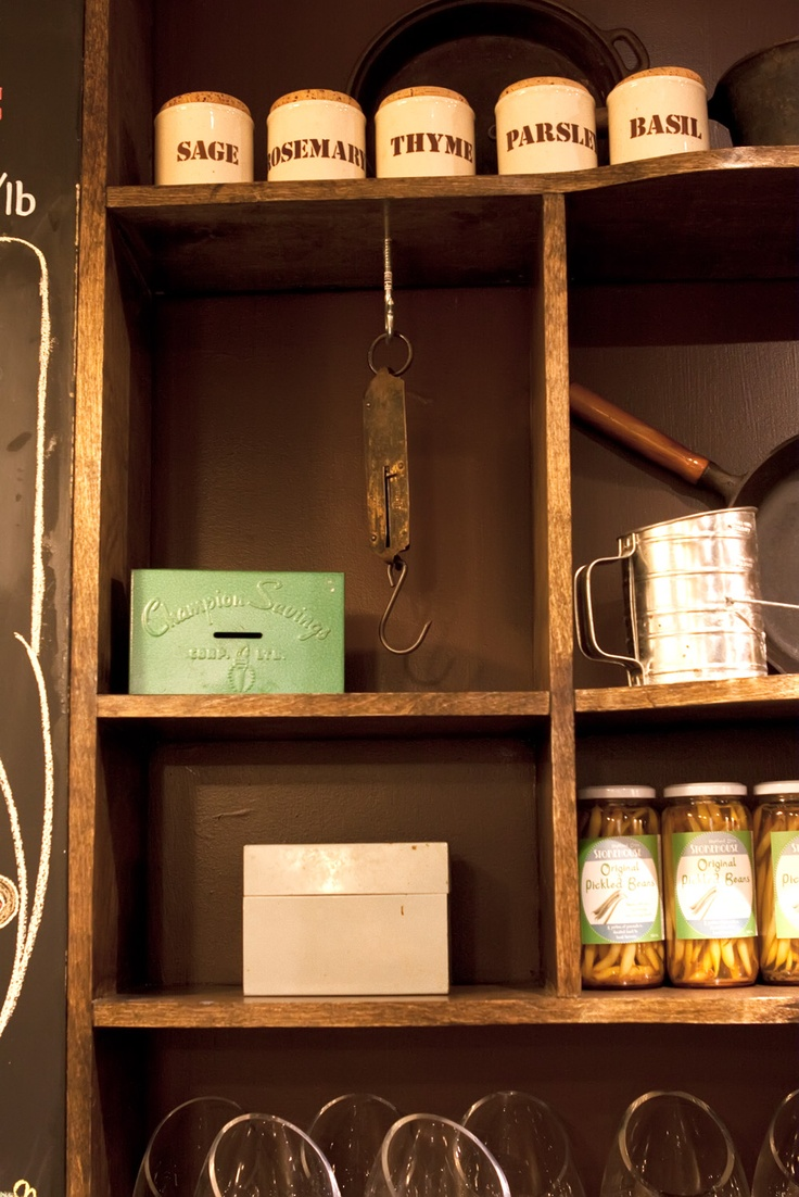 Artful antiques at Highland Drive Storehouse, a locally produced butcher shop in Halifax, NS.