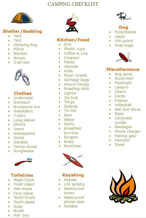 I like this  My camping checklist...