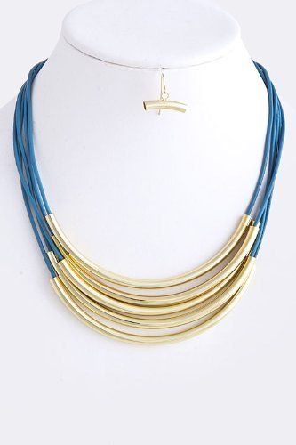 "Blue Layered String With Crescent Gold Bar Collar Necklace - Blue Stacked String With Gold Crescent Bar Layered Necklace StarShine Jewelry. $22.80. Stacked crescent bar necklace. Length approx 16"". Lead compliant. Lobster claw clasp with 3"" extender"