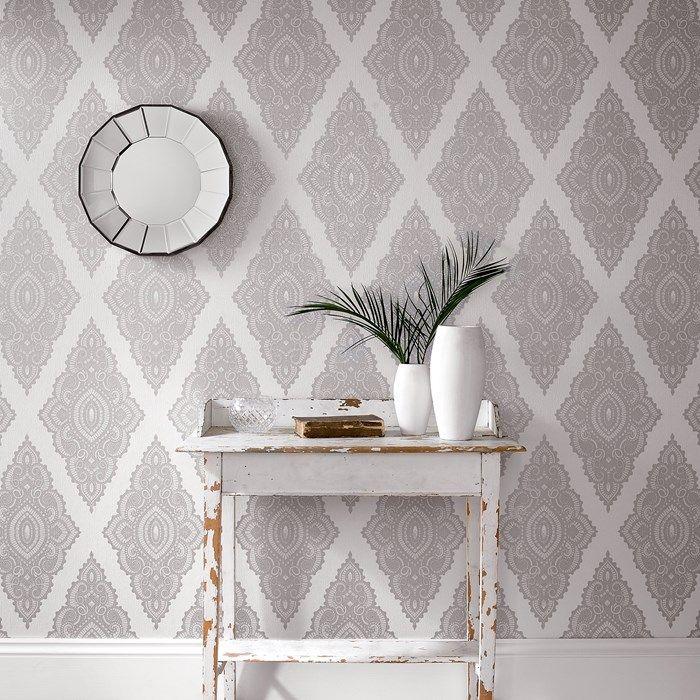 Perfect Jewel Pearl / Silver · Bathroom WallpaperHallway WallpaperWhite  WallpaperDamask WallpaperGrey Bedroom ...