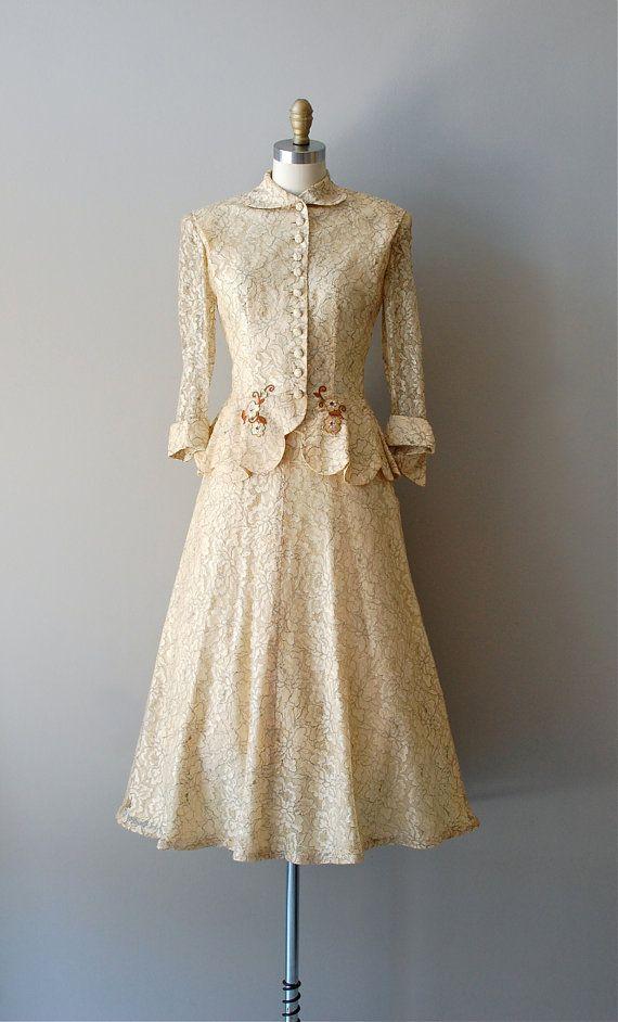 1950's Wedding Suit #1950s #partydress #dress #vintage #retro #elegant #petticoat #romantic #classic #feminine #fashion #lace #bridal #wedding