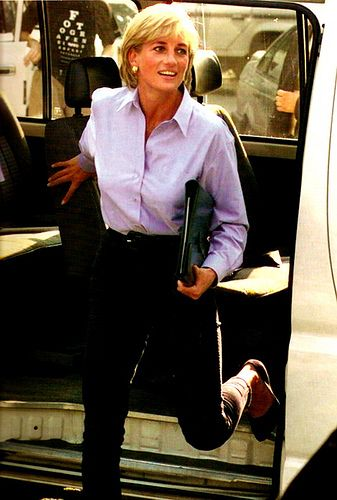 Princess Diana - 1997, hard at work for her many charities. Diana actually did work for her charities, not just get dressed up and wave.