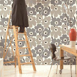 Marimekko wallpaper from Finland. Unikko is one of my favorite Marimekko designs. It comes in various colors.