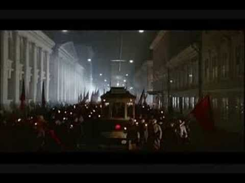 Reds - directed by Warren Beatty - the Internationale, in Russian. Beautiful little piece of film, IMO. I'm a capitalist, don't get me wrong. But I think this is a pretty song, and interesting from a historical perspective. Probably good advice for any leaders anywhere in the world not to get too far out of touch with the masses.