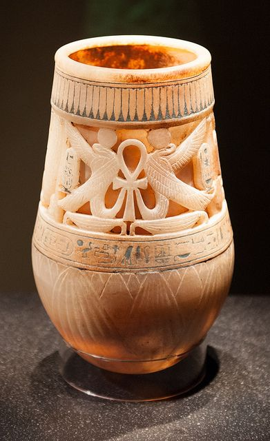 From the Treasures of Tutankhamun. A vase from the Egyptian pharaoh's tomb.