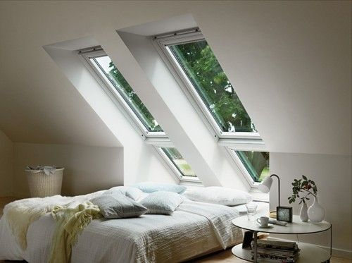 Love the windows above the bed.