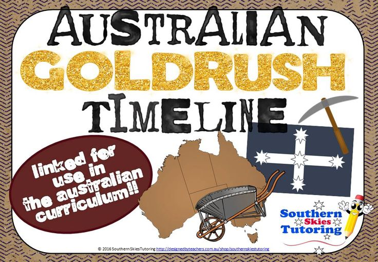 Australian Gold Rush Timeline Posters feature 17 key events that shaped the early Goldrush era in Australia. Each poster features the year and description of the event, as well as a supporting high resolution clip art or photograph from the era. Use to support your Australian history unit as posters or on the interactive whiteboard. 21 pages for $2! http://designedbyteachers.com.au/marketplace/australian-gold-rush-timeline-posters/