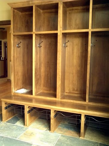 LDK Custom wood lockers in mudroom with wire pull-out drawers...lllllooooovvve the wire drawers and place for shoes below that!