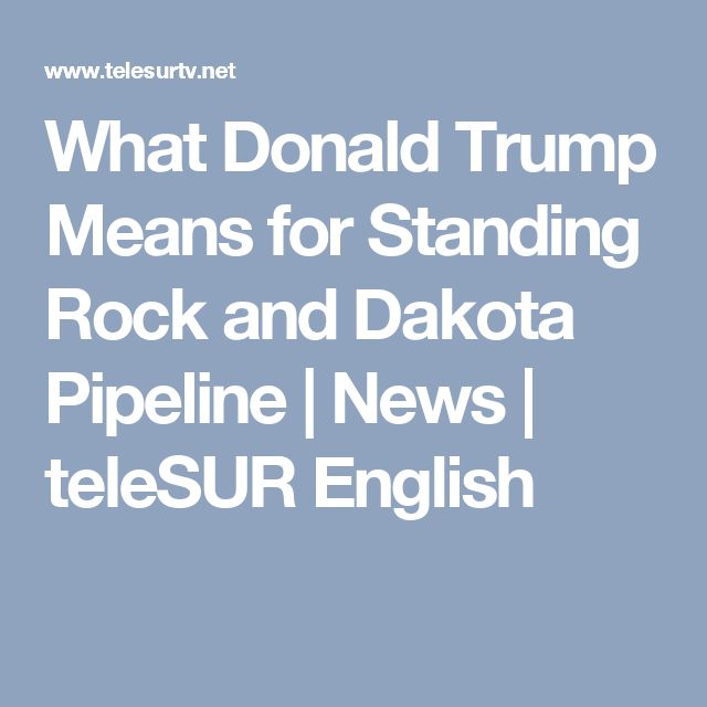 What Donald Trump Means for Standing Rock and Dakota Pipeline   News   teleSUR English