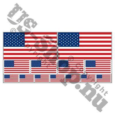35,00 DKK. Klistermærke ~ USA flag ~ 12 størrelser. Her får du Stars and Stripes for alle pengene!  Samlet på ét ark er her 12 USA flag i tre forskellige størrelser, 2 store USA klistermærker på 10 x 5 cm og 4 klistermærker på 5 x 2,5 cm og 7 små klistermærker med Amerikanske flag på 2,6 x 1,3 cm  Klistermærkerne er fremstillet i vinyl, og er meget holdbare. UV-coated overflade gør at disse stickers tåler sol. De kan fjernes igen uden at gøre skade.